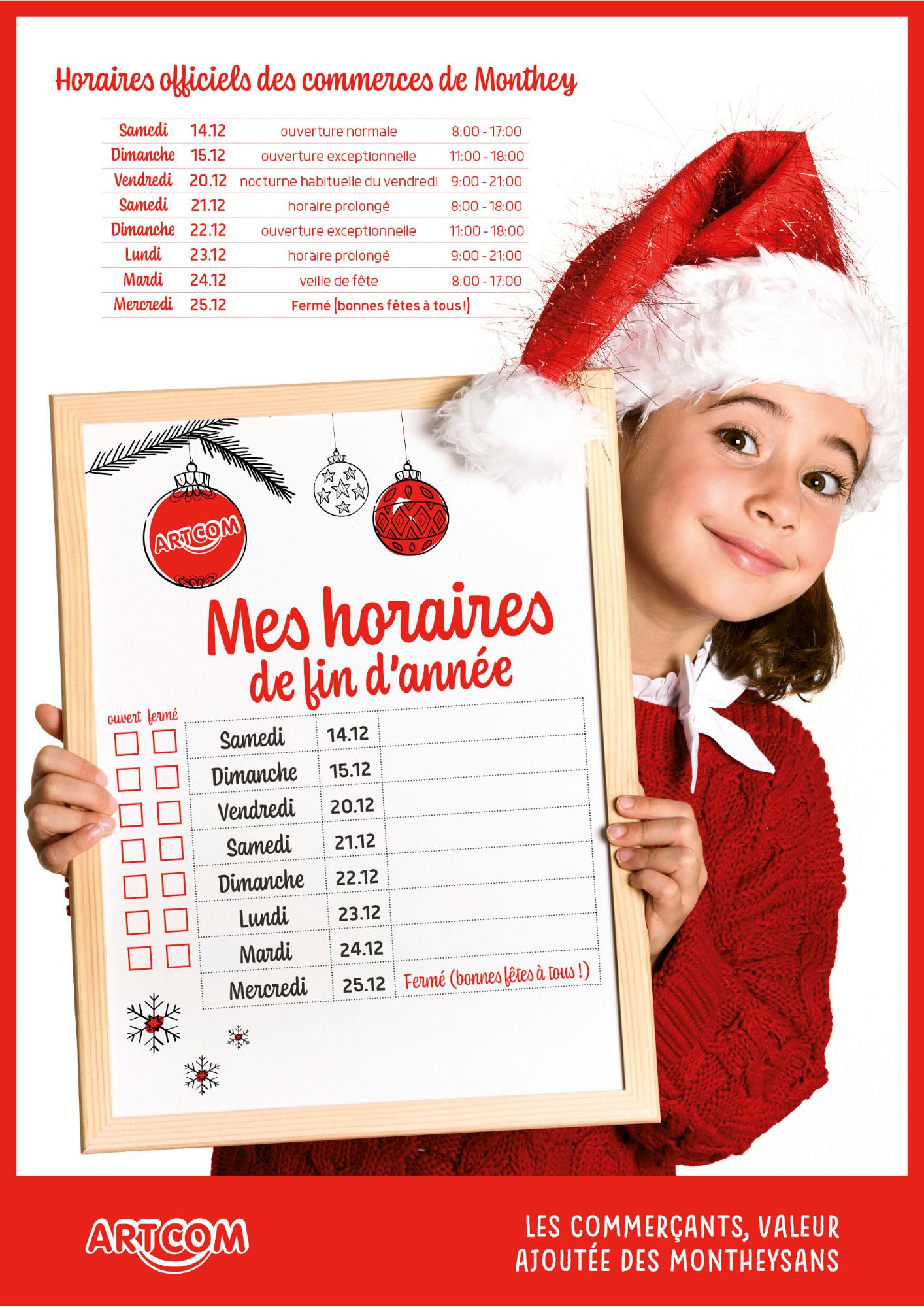 horaires Noël 2019